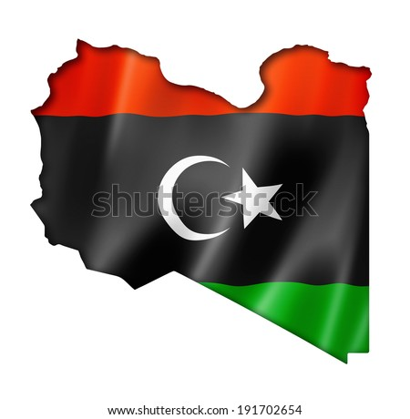 Libya flag map, three dimensional render, isolated on white - stock photo