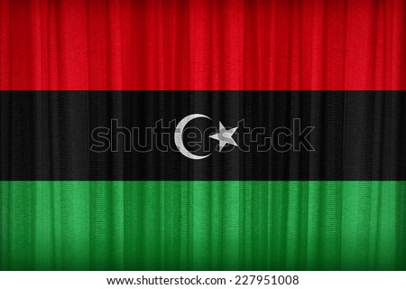 Libya flag pattern on the fabric curtain,vintage style - stock photo