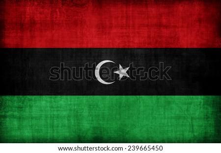Libya flag pattern,retro vintage style - stock photo