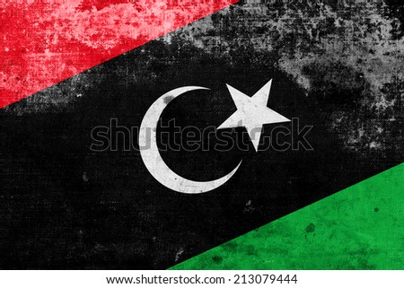 Libya Flag with a vintage and old look - stock photo