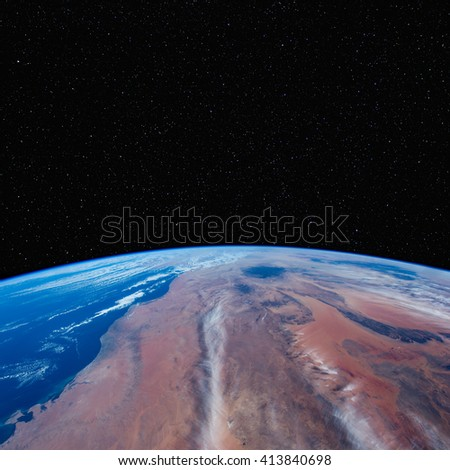 Libya from space with stars above. Elements of this image furnished by NASA.  - stock photo