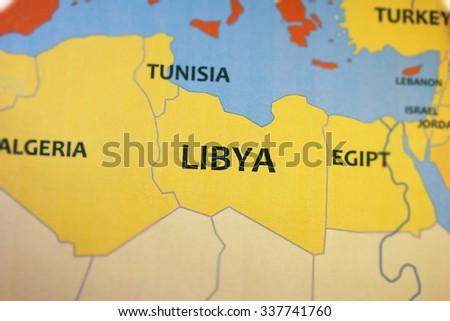 Libya map close up - stock photo