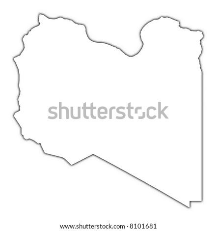 Libya Outline Map Shadow Detailed Mercator Stock Illustration - Libya blank map