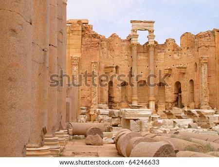 "Libya Tripoli ""Leptis Magna"" Roman City - ""UNESCO World Heritage Site"" - stock photo"