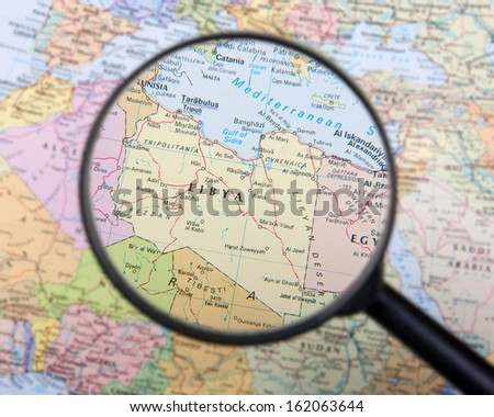 Libya under magnifier - stock photo