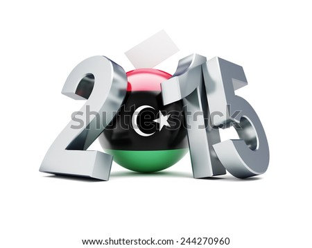 libyan constitutional referendum 2015 on a white background   - stock photo