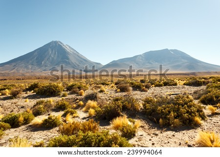 Licancabur and Juriques volcanoes, Chile - stock photo