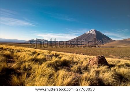 Licancabur volcano in the Atacama desert, Chile - stock photo