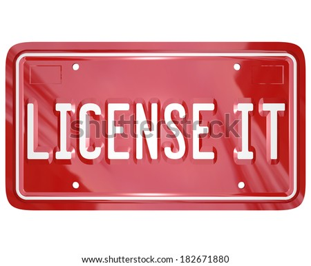License It Vanity Plate Official Product Licensing - stock photo