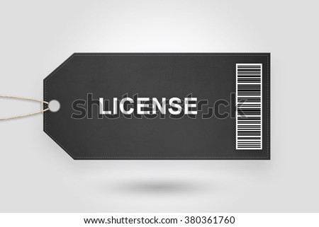 license price tag with barcode and grey radial gradient background - stock photo