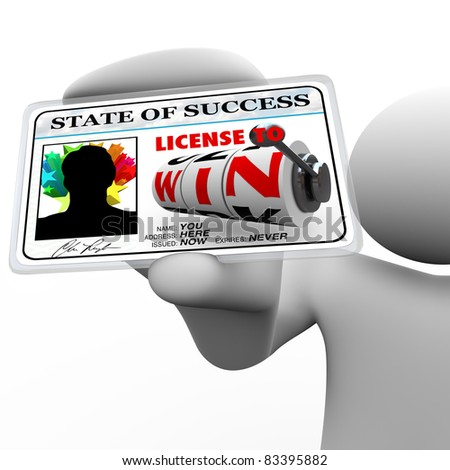 License to Win appears on this plastic laminated card as a person's access for opportunity in winning in life - business, gambling, sports or life in general - stock photo