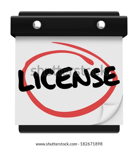 License Word Calendar Reminder Official Approval Certified - stock photo