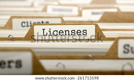 Licenses Concept. Word on Folder Register of Card Index. Selective Focus. - stock photo