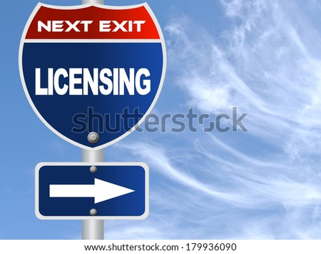 Licensing road sign - stock photo