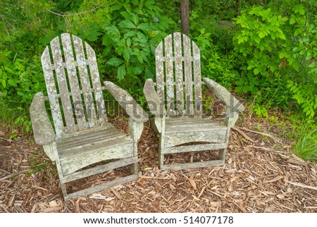 Lichen covered Adirondack garden chairs.