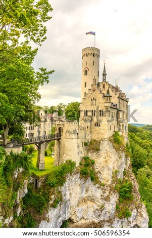 Lichtenstein Castle German:(Schloss Lichtenstein) Fairytale castle in Baden- Wurttemberg, built on a rock.