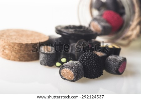 licorice candy craft out from the jar
