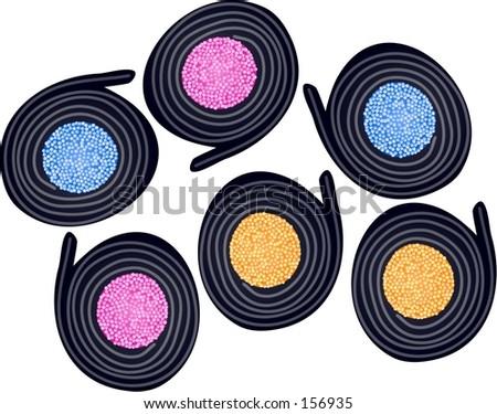 licorice catherine wheels - stock photo