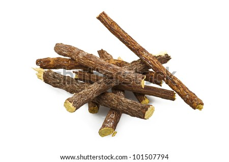 licorice root close up on the white - stock photo