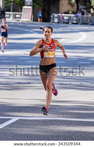 Lidia Rodriguez of Spain,92nd Jean Bouin Running events , 23.nov. 2015 in Barcelona, Spain - stock photo