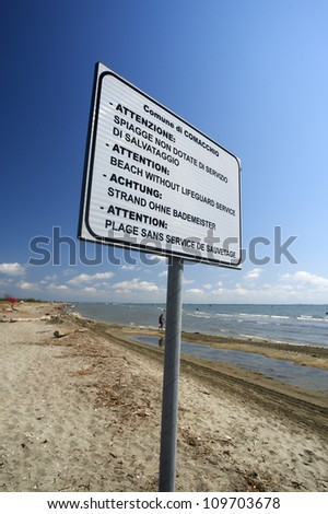 Lido di Volano (Fe), Italy, Adriatic Sea, a sign