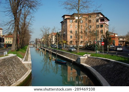 LIDO ISLAND, ITALY - FEBRUARY 21: Canal at Lido Island near Venice. - Feb 21, 2014. Italy, Lido Island. - stock photo