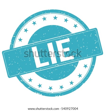 LIE stamp sign text word logo cyan blue.
