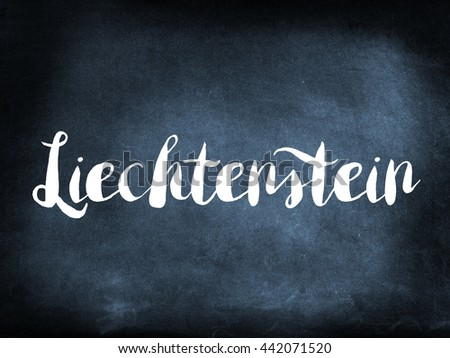 Liechtenstein written on a blackboard