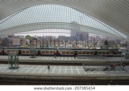 LIEGE, BELGIUM, APRIL 13, 2014: Detailed view over one of the most impressive belgian railway stations in Liege, which was designed by Santiago Calatrava. - stock photo