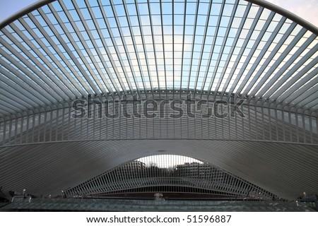Liege  Guillemins train station   Liege city   Wallonia Belgium - stock photo