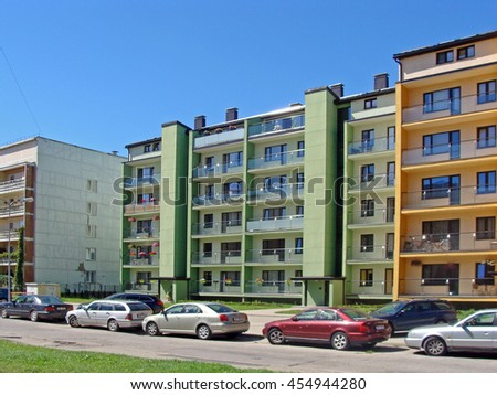 LIEPAJA, LATVIA - JULY 19, 2016: Newly built green color apartment house is located on Daugavas street.