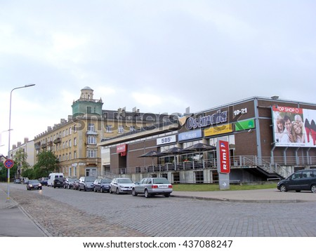 LIEPAJA, LATVIA - JUNE 10, 2016: Shopping center Ostmala is located on Barinu street and has one of company Rimi stores in it.