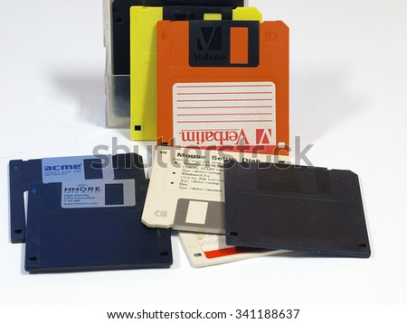 LIEPAJA, LATVIA - NOVEMBER 19, 2015: Floppy disks made in different companies are used for data storage on older computers.