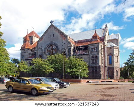 LIEPAJA, LATVIA - SEPTEMBER 28, 2015: The Church of Martin Luther of Jaunliepaja is located on Jelgavas street and is built in 1914.     - stock photo