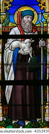 LIER, BELGIUM - MAY 16, 2015: Stained Glass window in St Gummarus Church in Lier, Belgium, depicting Saint Joachim, Father of the Virgin Mary - stock photo