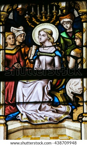 LIER, BELGIUM - MAY 16, 2015: Stained Glass window in St Gummarus Church in Lier, Belgium, depicting the Blessed Virgin Mary - stock photo