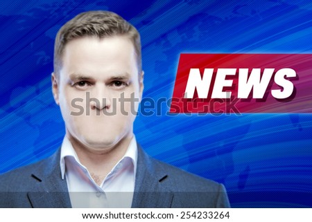 """Lies and hidden problems, television announcer  without a mouth on a background of the inscription """"News""""  - stock photo"""