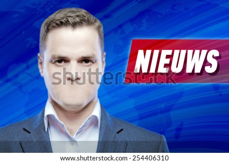 """Lies and hidden problems, television announcer  without a mouth on a background of the inscription """"News"""" in Dutch - stock photo"""