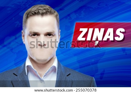 """Lies and hidden problems, television announcer  without a mouth on a background of the inscription """"News"""" in Latvian - stock photo"""