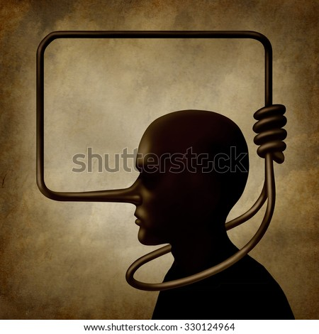 Lies kill concept as a person with a long nose as a lier symbol shaped as a noose knot tied around the neck of the guilty man as a surreal symbol for self inflicted harm due to guilt and liability. - stock photo