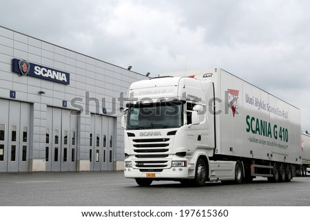 LIETO, FINLAND - MAY 30, 2014: Scania presents R410 semi truck as part of their new range at Scania Euro 6 V8 Road Show.