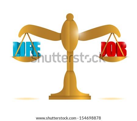 life and job balance illustration design over a white background - stock photo