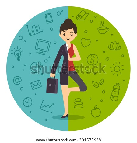 Life and work balance. Businesswoman in suit and doing yoga. Background divided in two themed parts. - stock photo