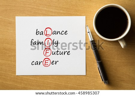 LIFE balance, family, future, career - handwriting on notebook with cup of coffee and pen, acronym business concept