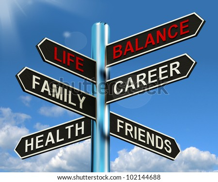 Life Balance Signpost Showing Family Career Health And Friends