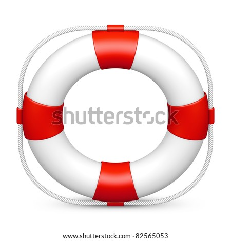 Life belt icon in red on isolated white background. 3D render image and part of icon series.