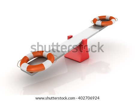 Life Belts Balancing on a Seesaw - Balance Concept - High Quality 3D Render   - stock photo