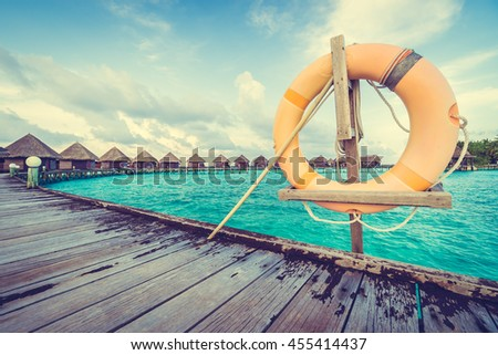 Life bouy or safety ring in Maldives resort and hotel - Boost up color , Filter effect Processing
