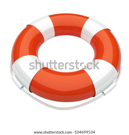 Life buoy. Conception of the first aid. 3d render illustration - stock photo