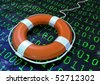 life buoy in a binary digit sea - stock photo